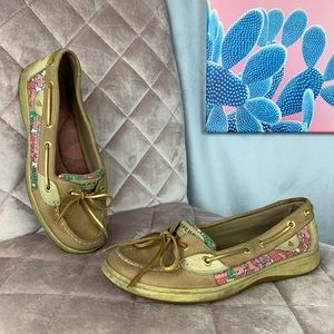 Sperry top-sider floral sequined boat shoes 8M
